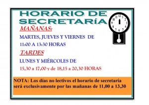 horario de secretaria