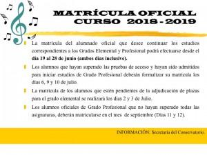 Matricula oficial 2018