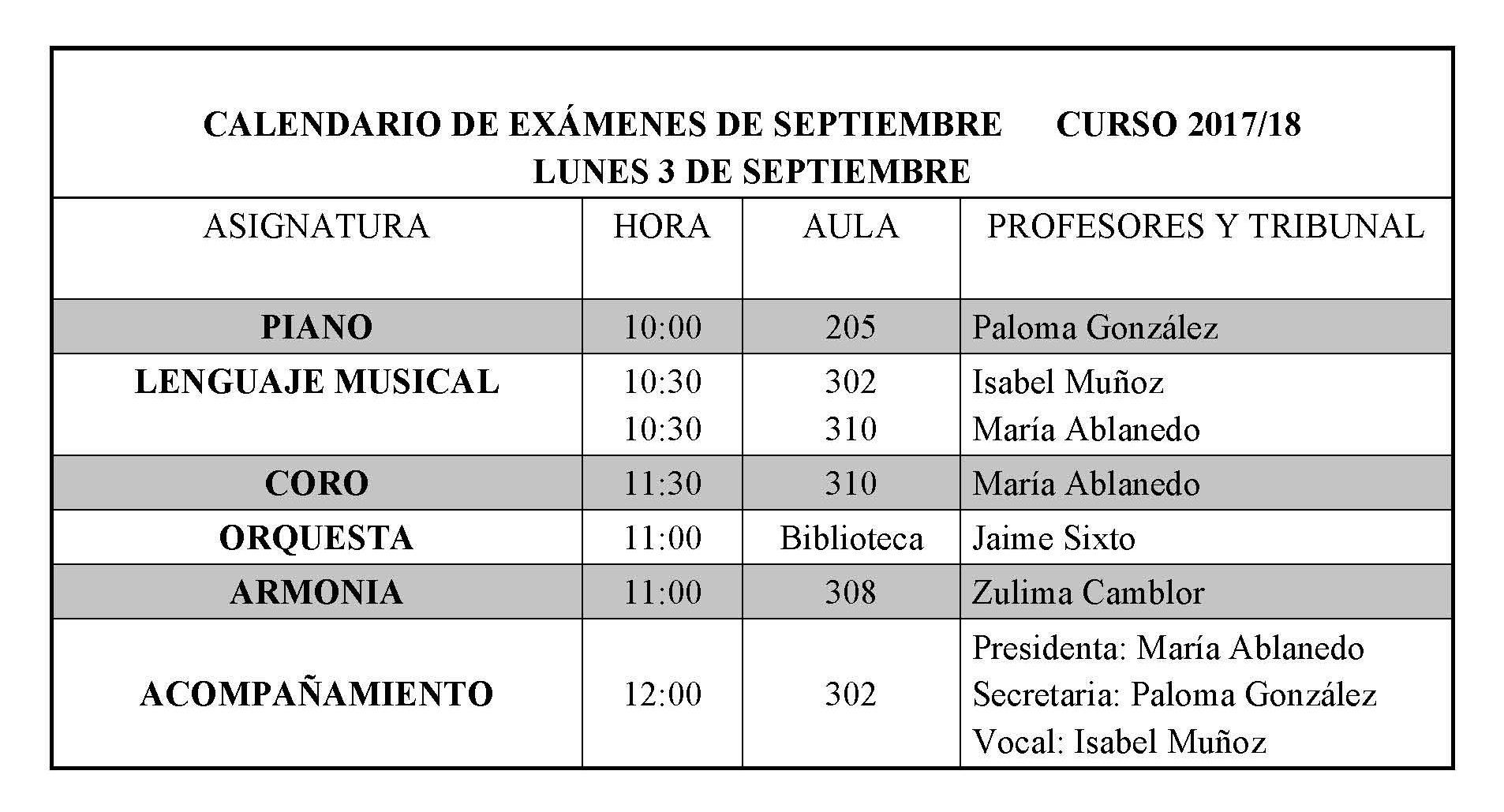 Calendario De Examenes.Calendario De Examenes De Septiembre Conservatorio Profesional De