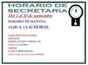 horario de secretaria septiembre